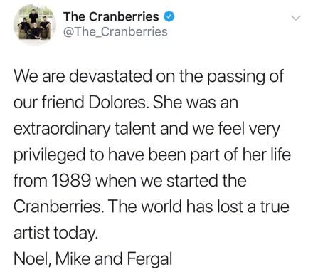 小红莓主唱去世享年46岁 乐队三成员发文悼念