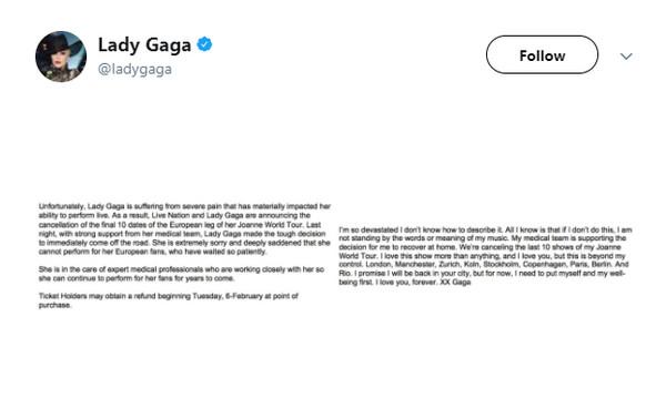 Lady Gaga病情恶化