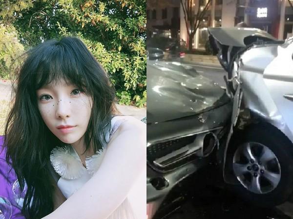 泰妍(左)、车祸现场(右)