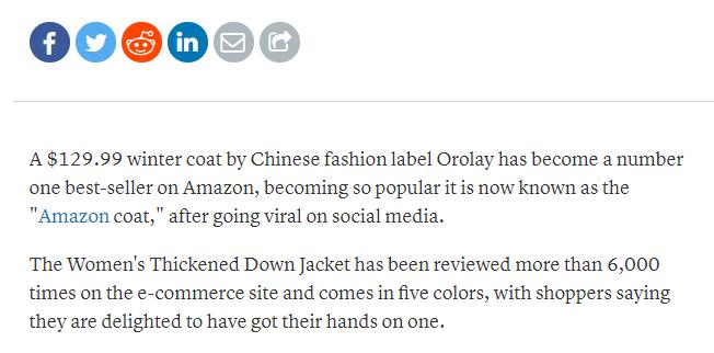 """国产Orolay爆款羽绒服为什么席卷美国""""亚马逊外套""""?"""