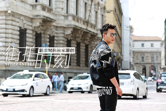 街拍时刻 刘恺威酷炫型男范儿行走米兰