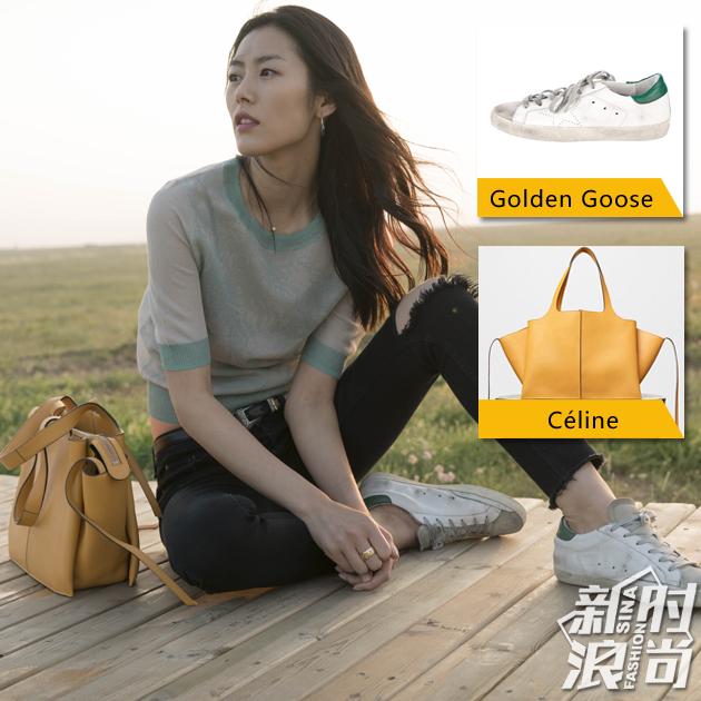 刘雯身穿Golden-Goose小脏鞋