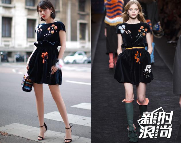 第二场Fendi,丝绒面料的裙装点缀了奢华的立体皮草装饰