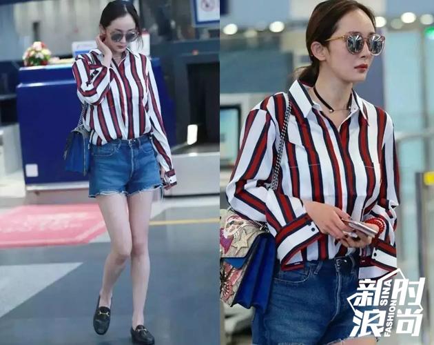 杨幂这身造型红色条纹的衬衫搭配牛仔短裤