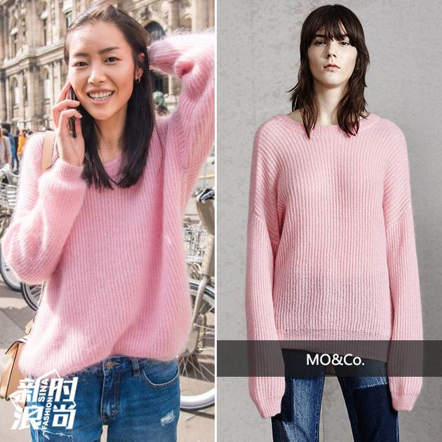 刘雯穿纯色毛衣