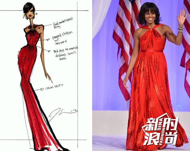 2013年1月21日,米歇尔再度穿上吴季刚设计的红色礼服参加就职舞会。