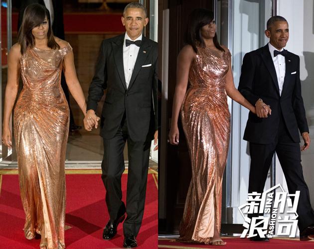 米歇尔奥巴马金属色礼服