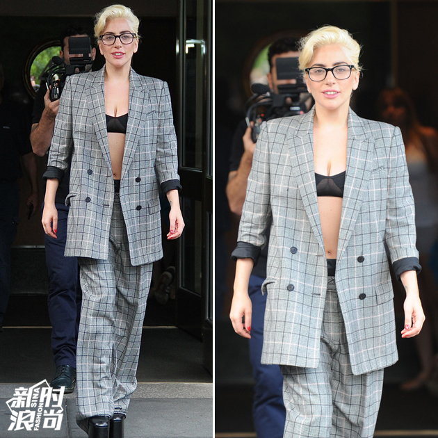 Gaga穿西装秀性感