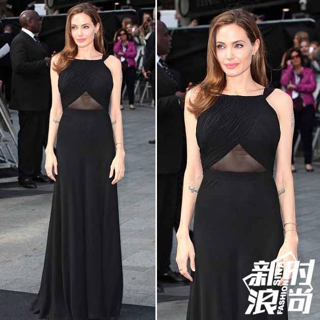 朱莉穿黑色透视长裙