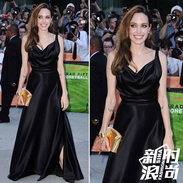 朱莉穿黑色深V礼服
