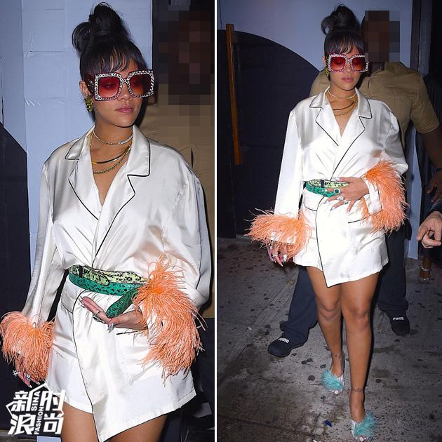 蕾哈娜穿睡衣风