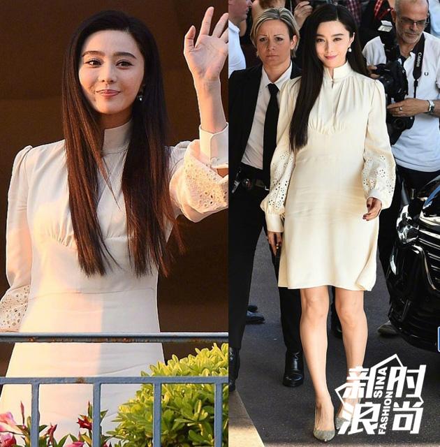 范冰冰身穿CHLOE-白色镂空灯笼袖高领连身裙