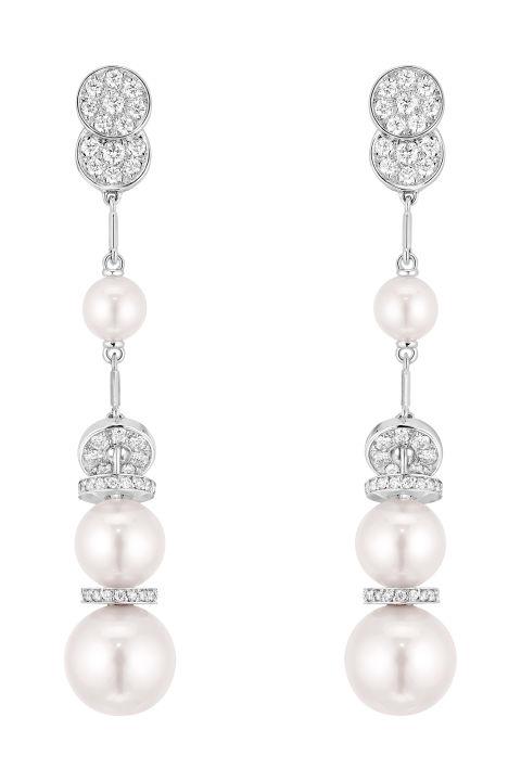 Chanel 18K白金珍珠鑽石耳墜