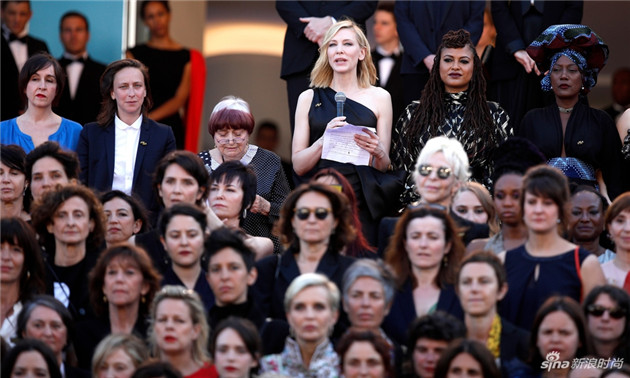 凯特-布兰切特率82位女性电影工作者戛纳红毯为性别失衡抗议