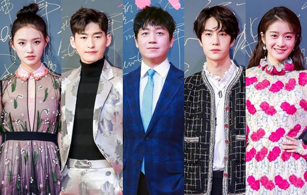 往届大赏现场明星(左起:林允、张翰、潘粤明、王一博、张雪迎)