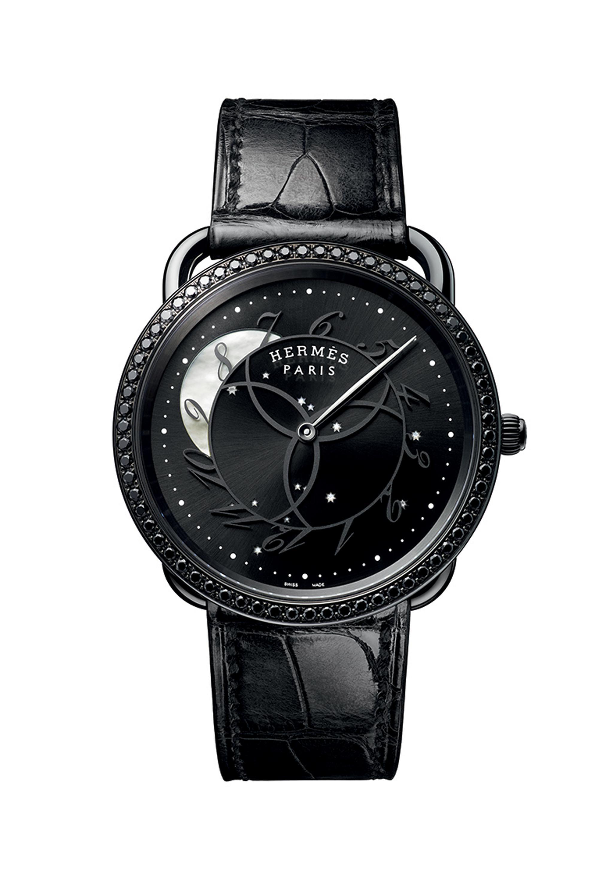 爱马仕Arceau Ronde des heures 哑光拉丝不锈钢腕表,配亮面鳄鱼皮表带