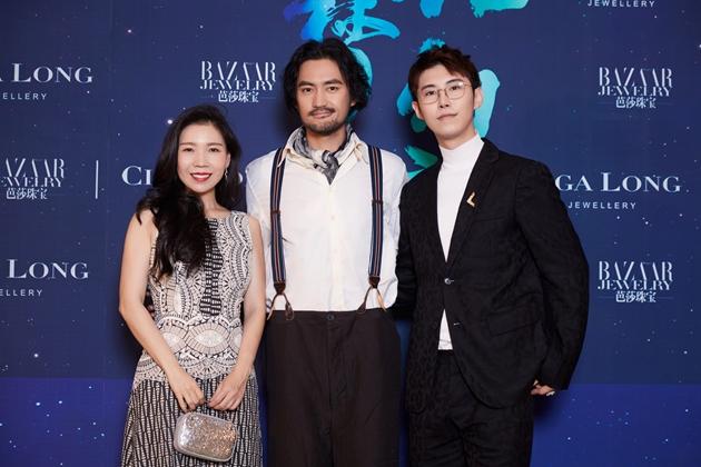 左起:《芭莎珠宝》助理出版人兼主编_敬静、演员_袁弘、Ciga Long品牌创始人兼珠宝设计师_龙梓嘉