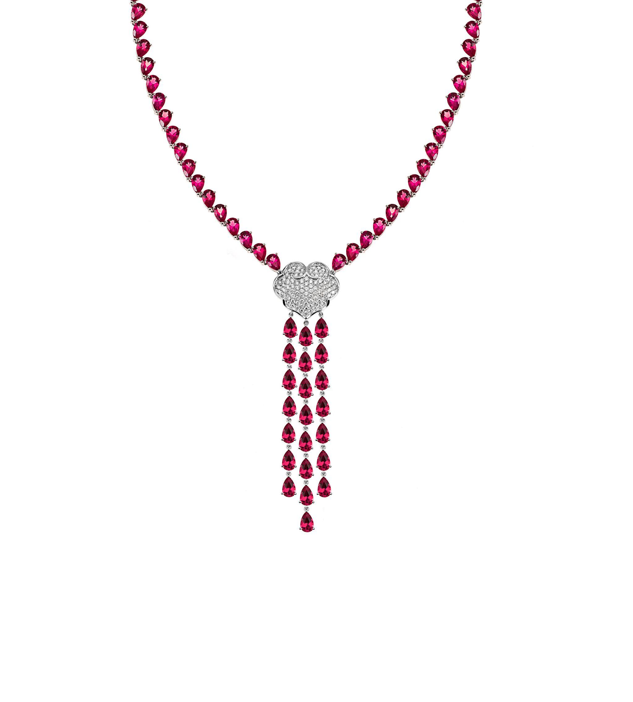故宫宫廷文化 x ENZO 如意系列 18K金镶红碧玺及钻石项链