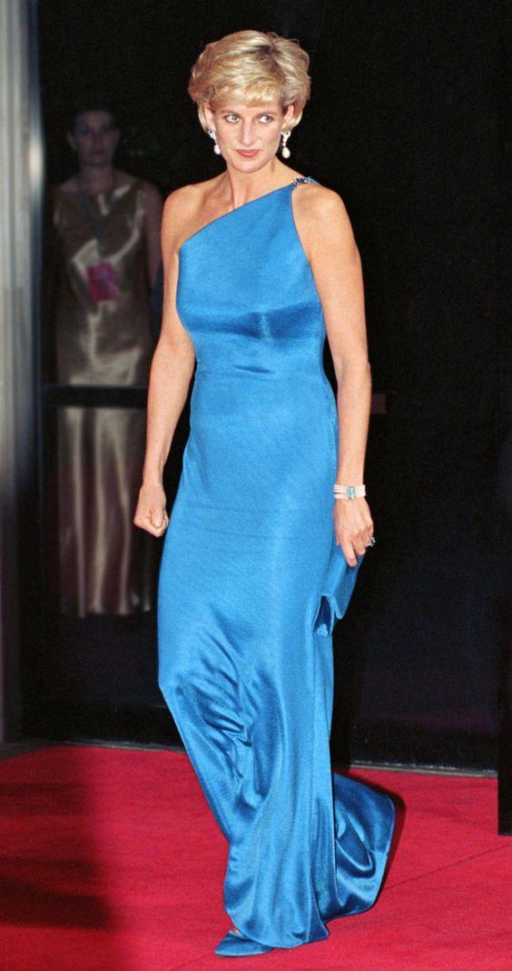 戴安娜王妃穿蓝色礼裙
