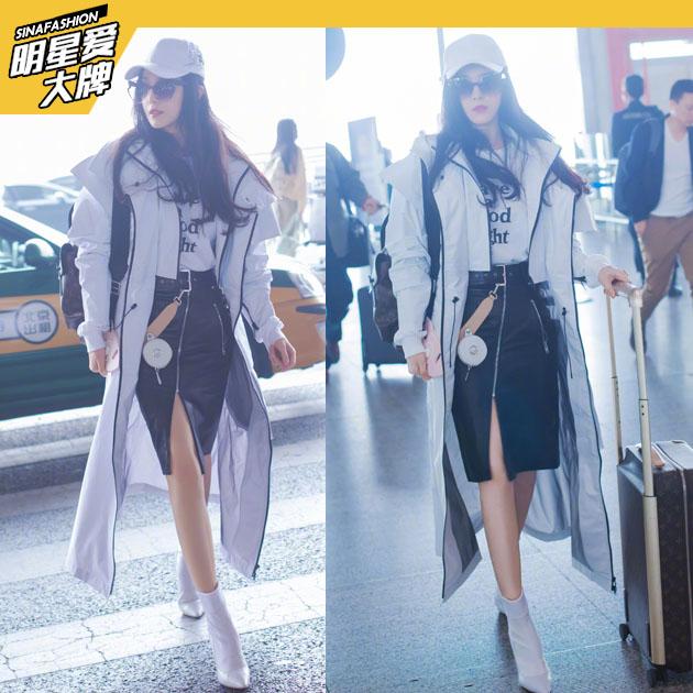 范冰冰街头风现身机场 不规则皮裙超霸气