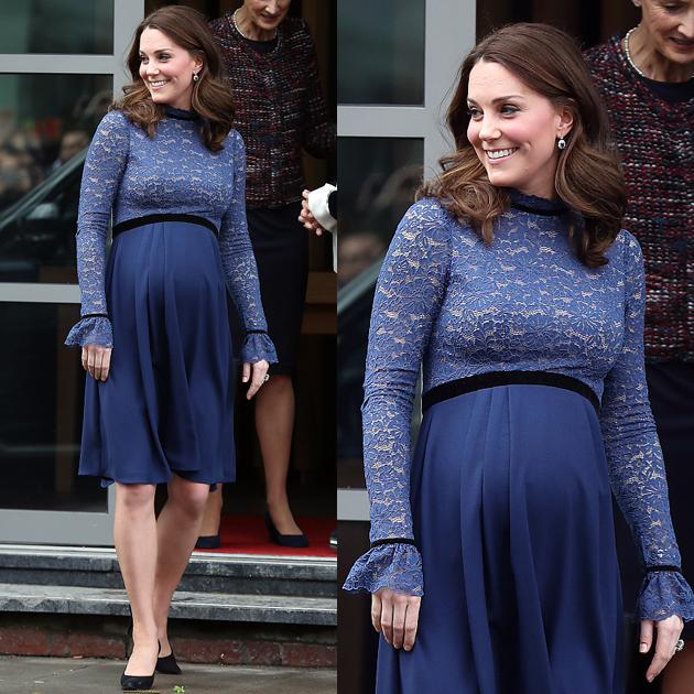 凯特王妃穿高腰蕾丝裙