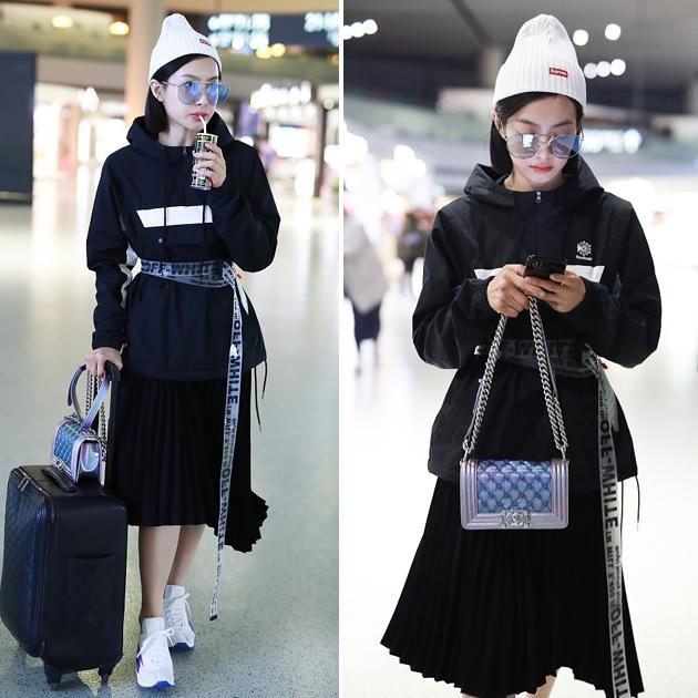 宋茜机场冲锋衣造型