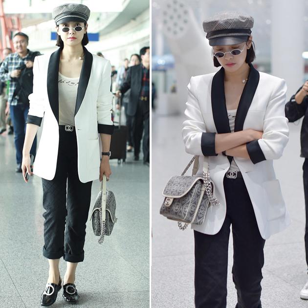 宋茜机场穿西装