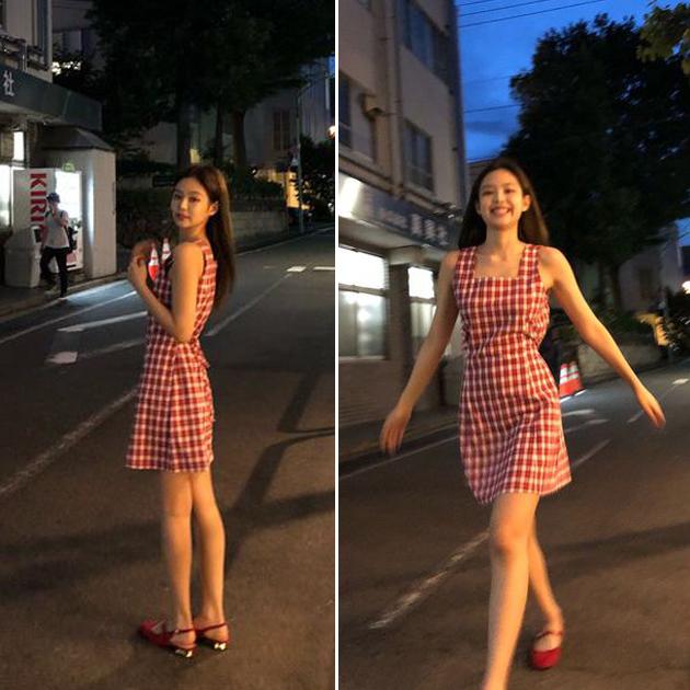 Jennie穿复古格纹连衣裙