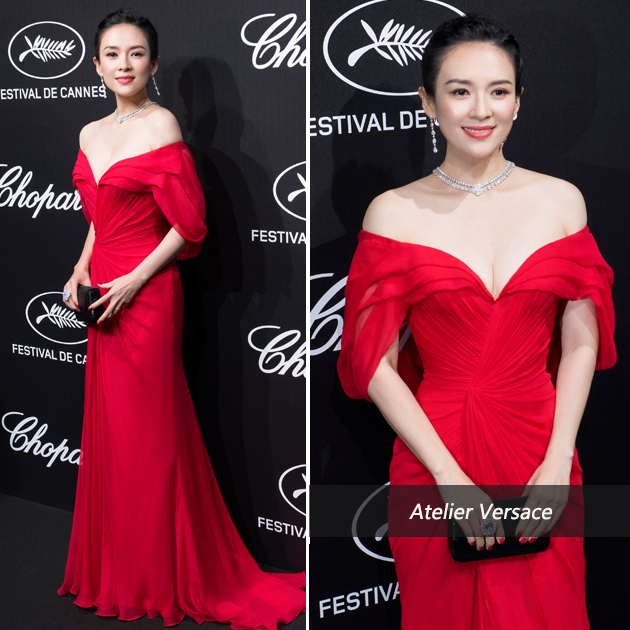 章子怡红裙造型