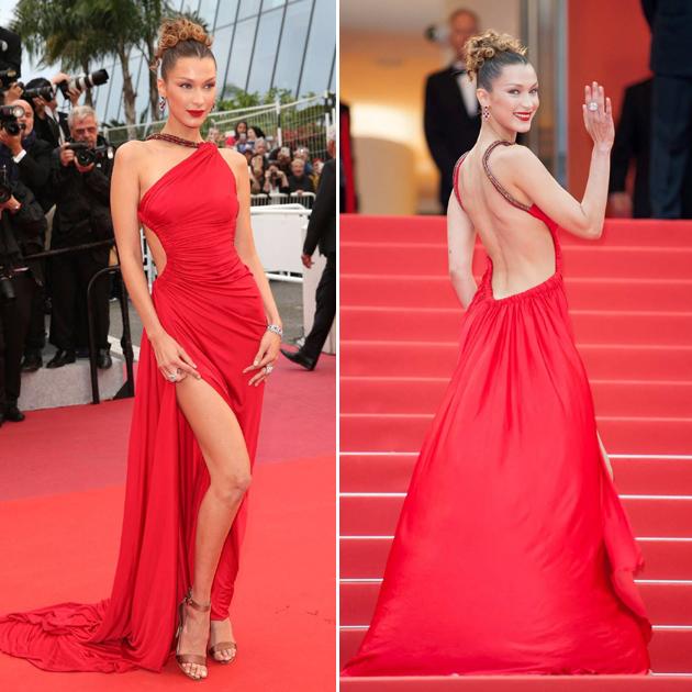 Bella Hadid红裙造型