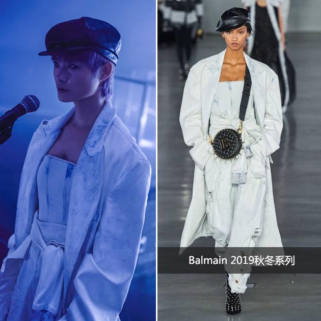 李宇春穿Balmain贝雷帽白色套装