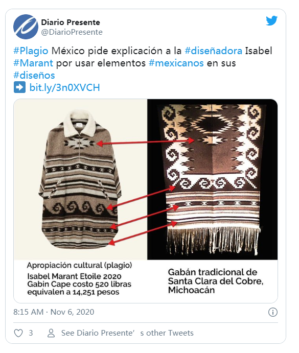 设计师Isabel Marant为挪用墨西哥土著图案道歉