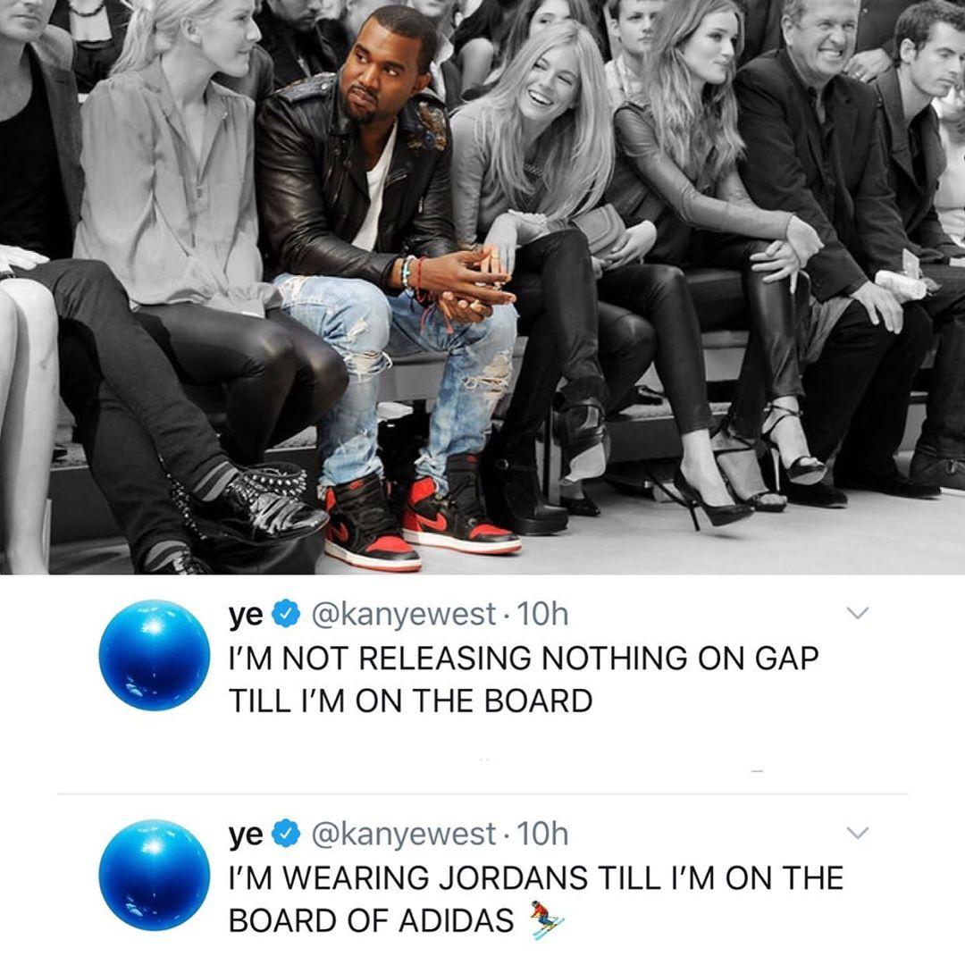 """侃爷发文""""威胁""""GAP与Adidas 进不了董事会就只穿Jordan"""