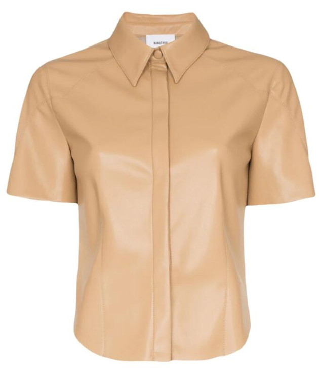 NANUSHKA Clare短袖環保皮革襯衫