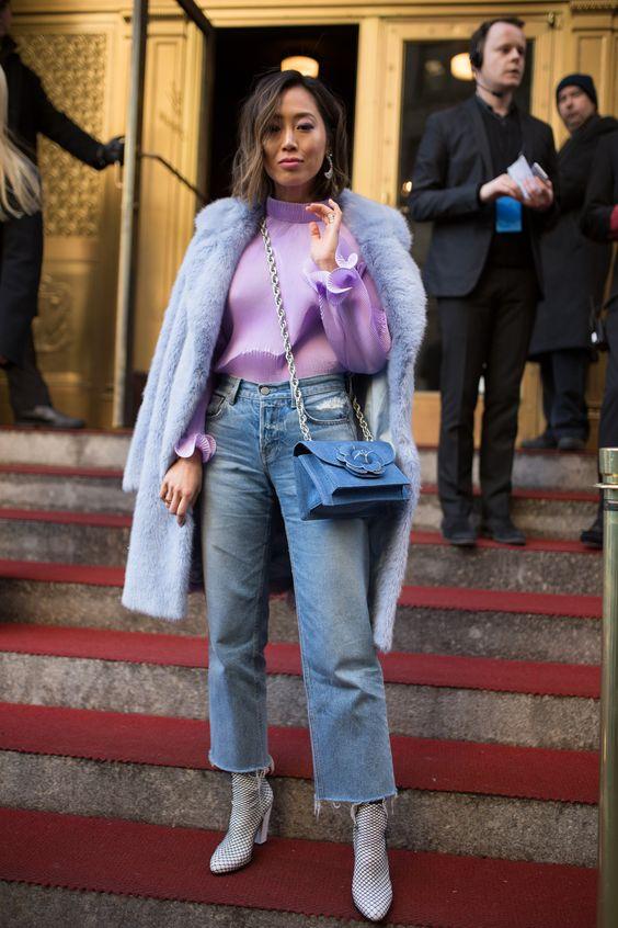 薰衣草紫配牛仔裤