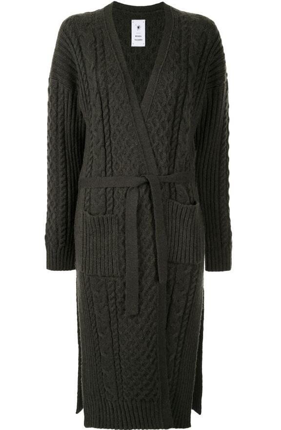 MAISON MIHARA YASUHIRO 粗絞花針織長款開襟大衣