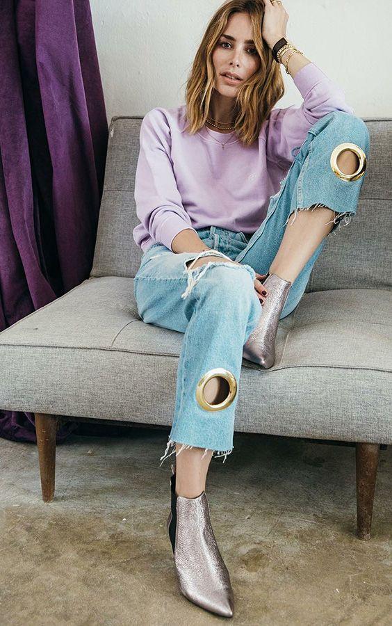 薰衣草紫色配牛仔裤