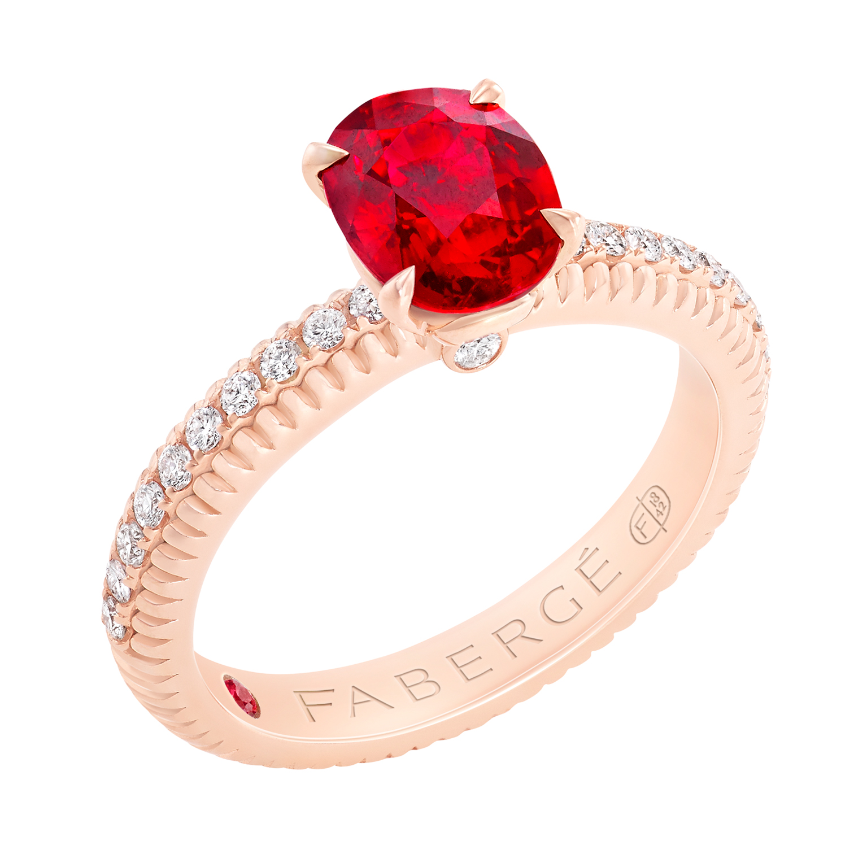 Fabergé法贝热三色之爱系列红宝石戒指