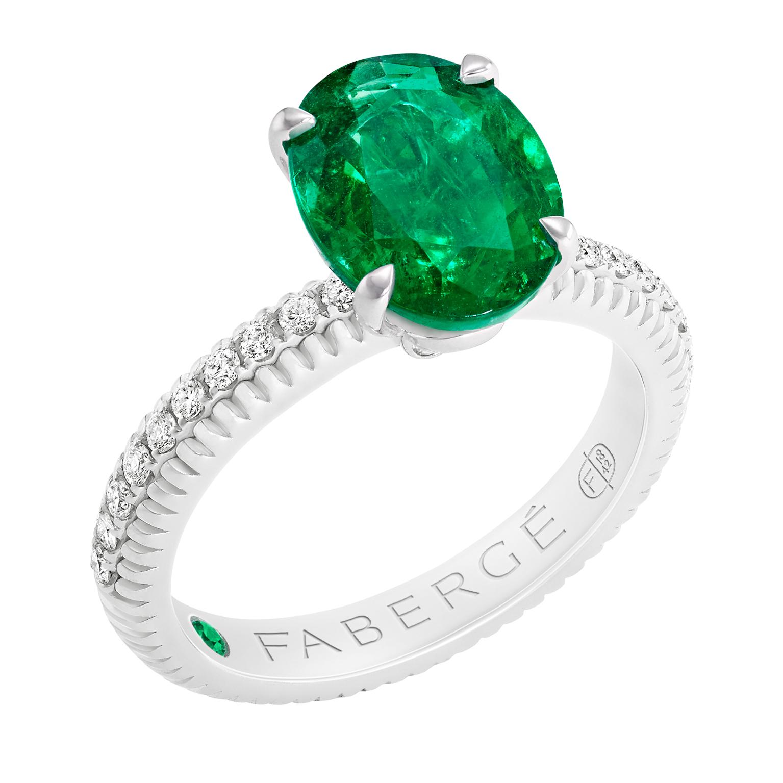 Fabergé法贝热三色之爱系列祖母绿戒指