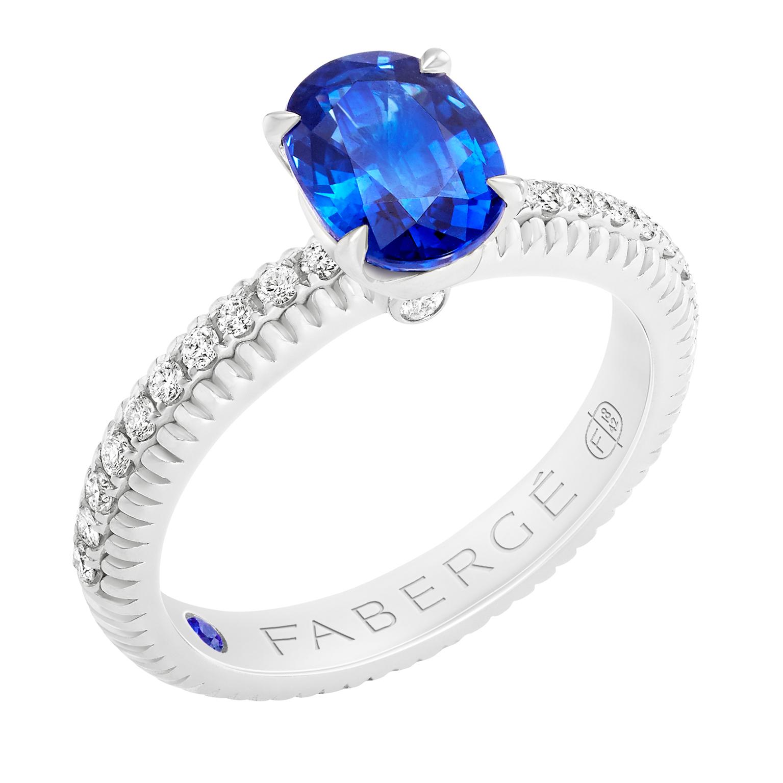 Fabergé法贝热三色之爱系列海蓝宝石戒指