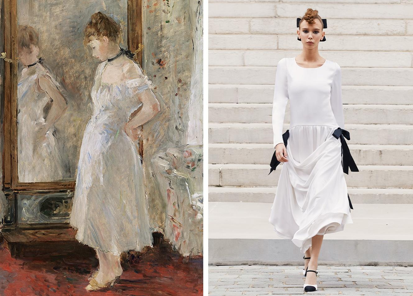 左:贝尔特·莫里索画作,右:CHANEL 2021秋冬高等定号衣系列