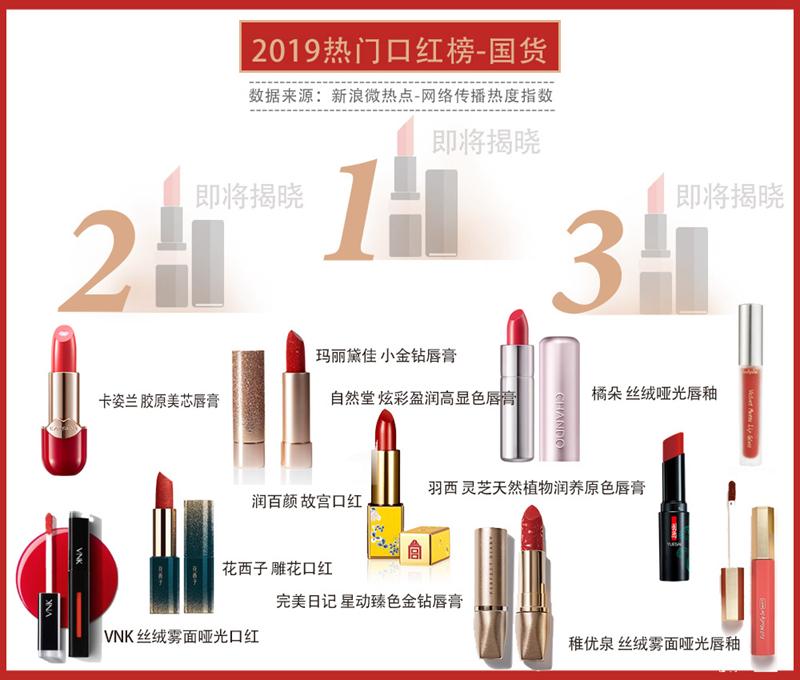 新浪美妆2019热门口红排行榜有奖活动-国货口红榜竞猜