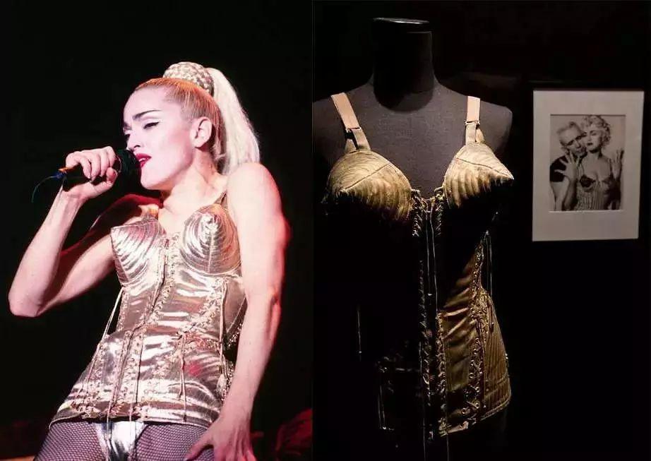 麥當娜穿高緹耶設計的圓錐形胸罩