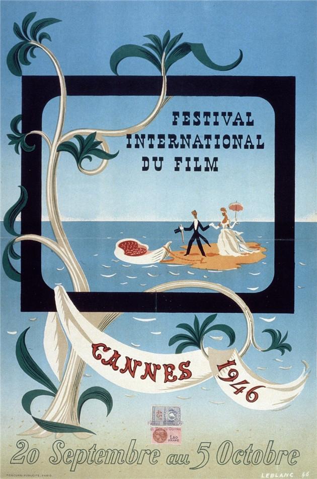 1946年真正开幕的第一届戛纳电影节海报