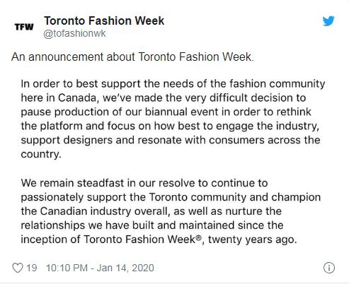 多伦多时装周再度被叫停