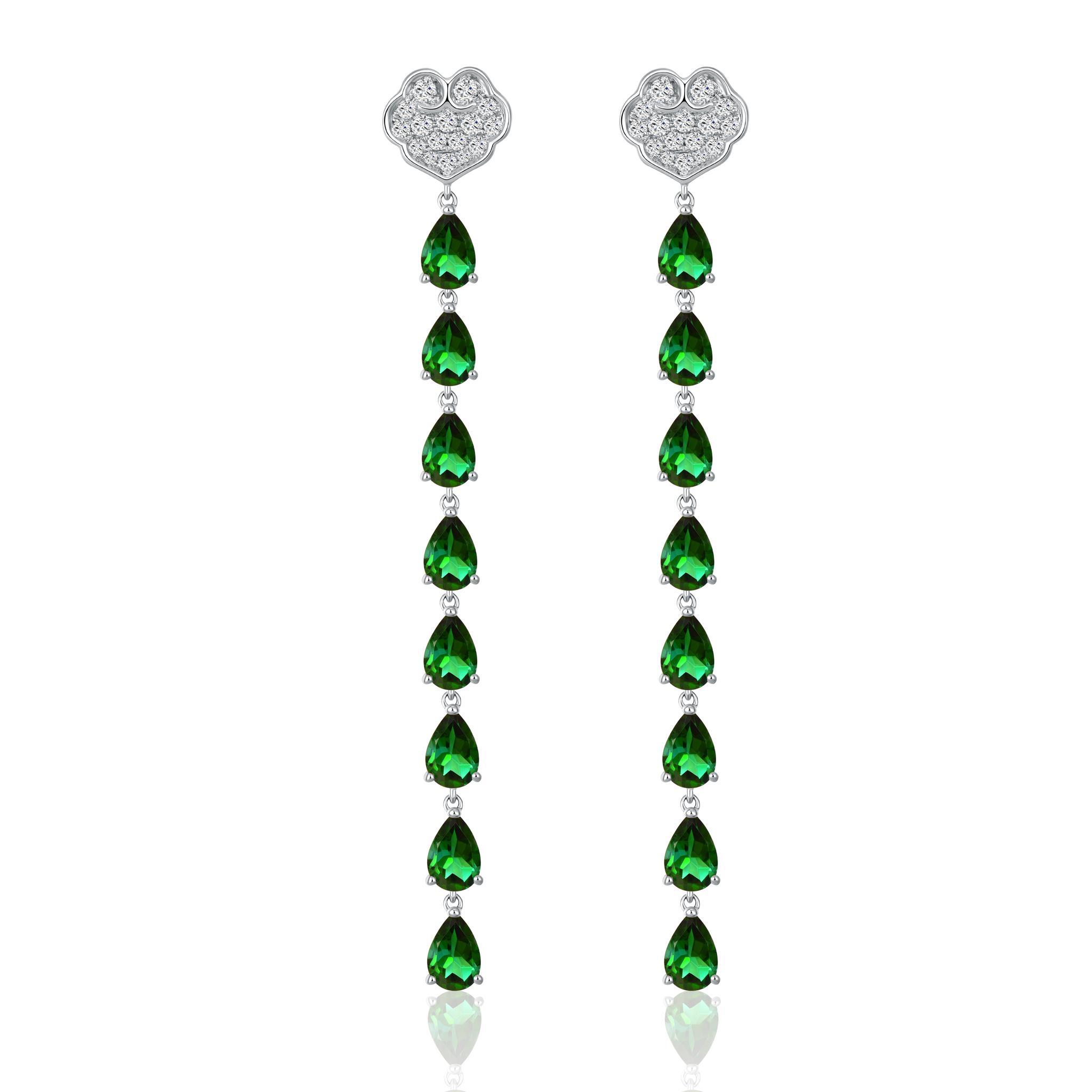 故宫宫廷文化 x ENZO 如意系列 18K金镶绿碧玺及钻石耳饰