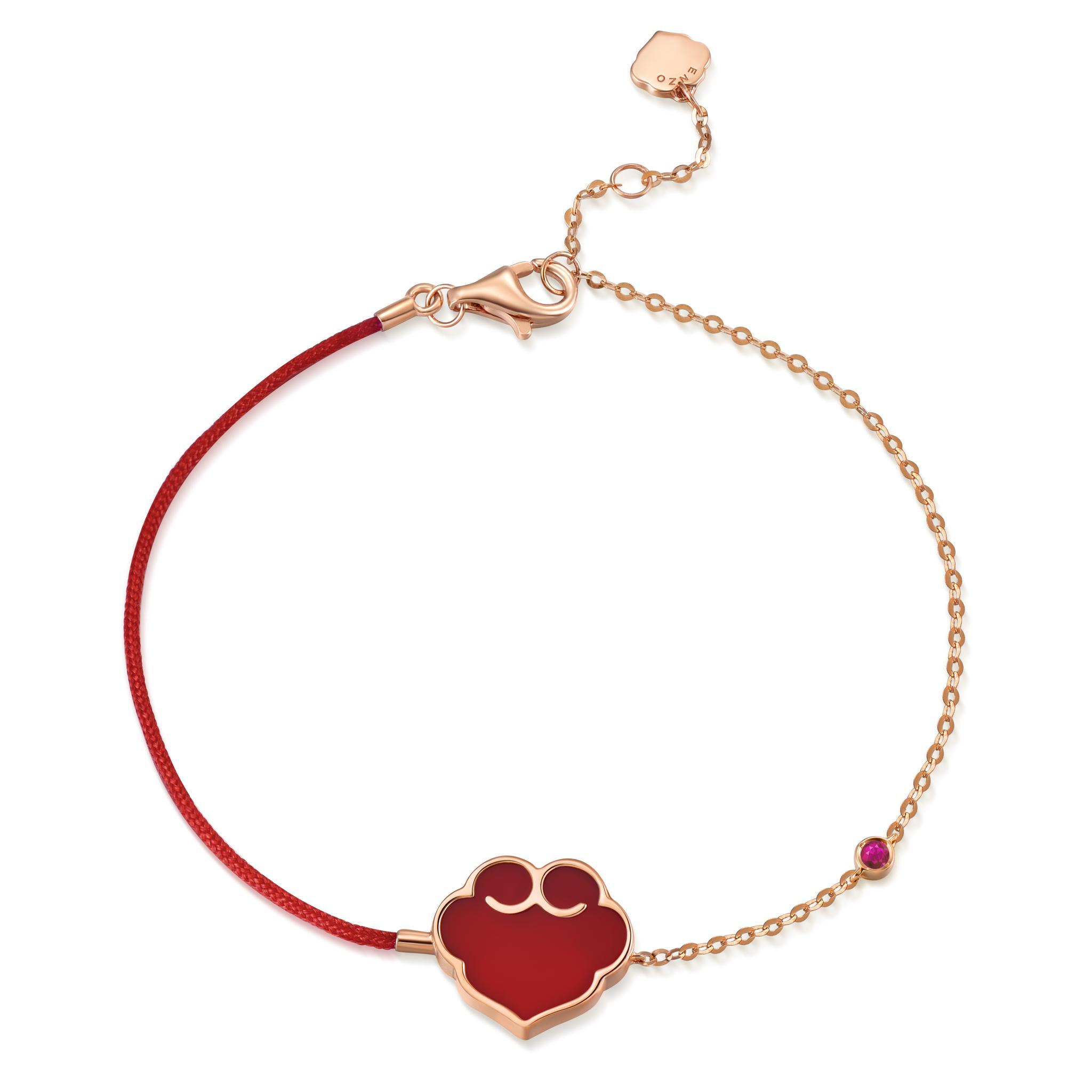 故宫宫廷文化 x ENZO 如意系列 18K金镶红玛瑙手链