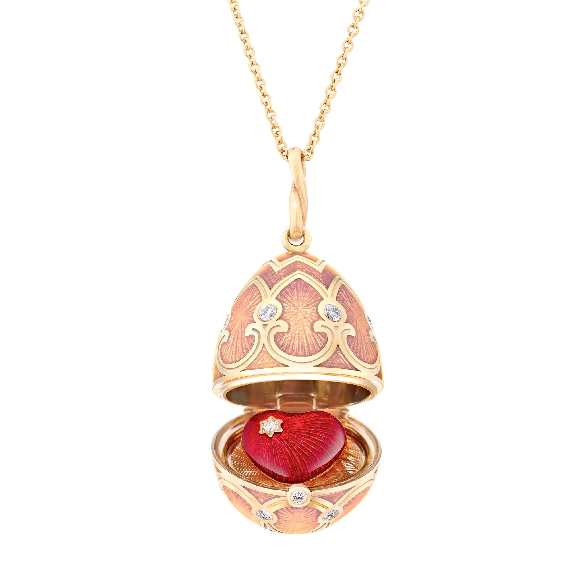 Fabergé法贝热复古粉色彩蛋挂坠