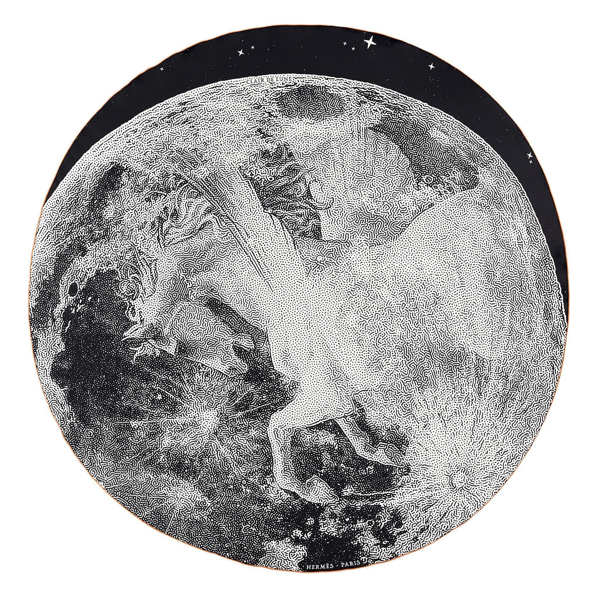 """爱马仕斜纹真丝""""月光(Clair de Lune)""""140厘米圆形围巾"""