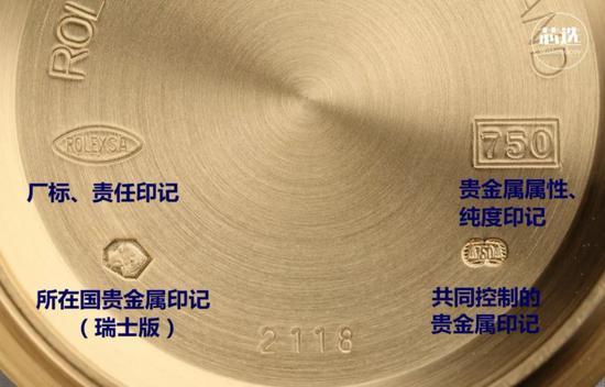 在贵金属手表上常见的印记一共有四个,分别是: